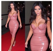 dress,celebrity,kim kardashian,tight,dusty pink,vinyl,pencil dress