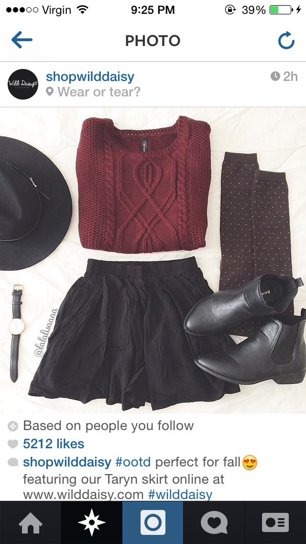 top burgundy knit black skirt knitted sweater blabk black hat sweater