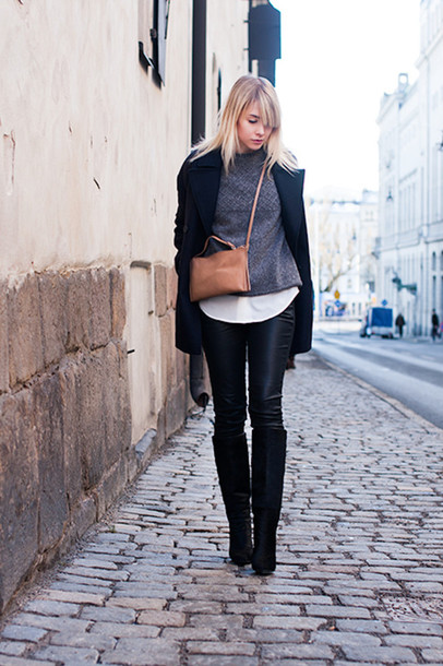 chaloth blogger leather pants winter sweater black coat coat sweater shirt pants bag shoes