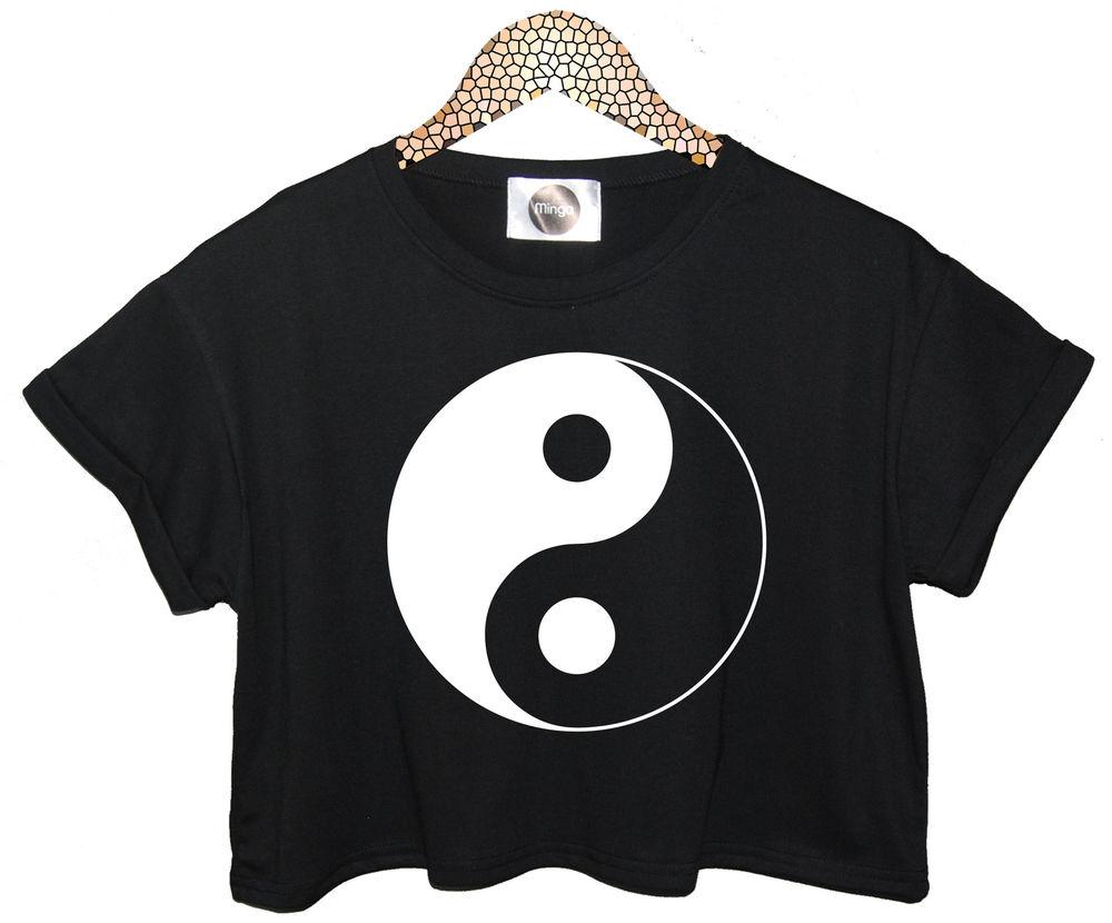 Ying Yang Yin Top T Shirt Crop Vest Tank Hipster Retro Vtg Womens Logo Swag New | eBay