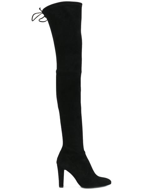 STUART WEITZMAN women suede black silk shoes
