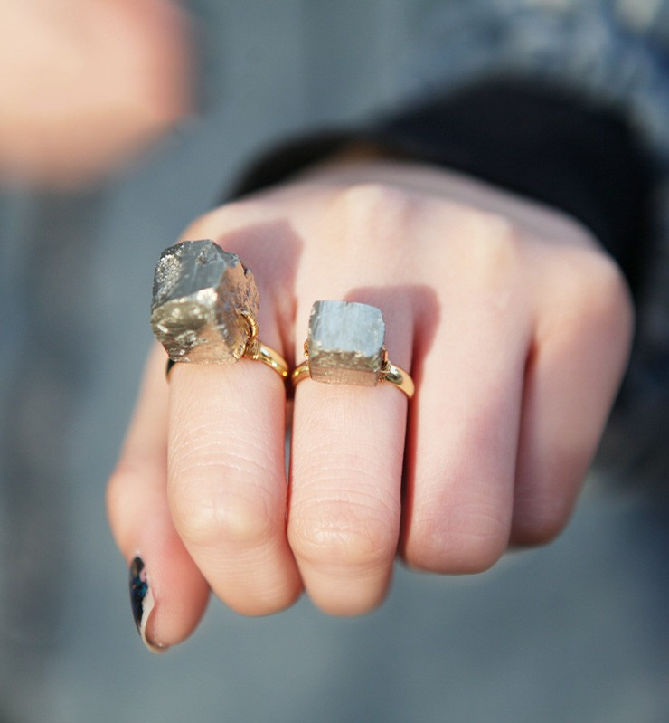 Pyrite Stone Wire Wrap Ring