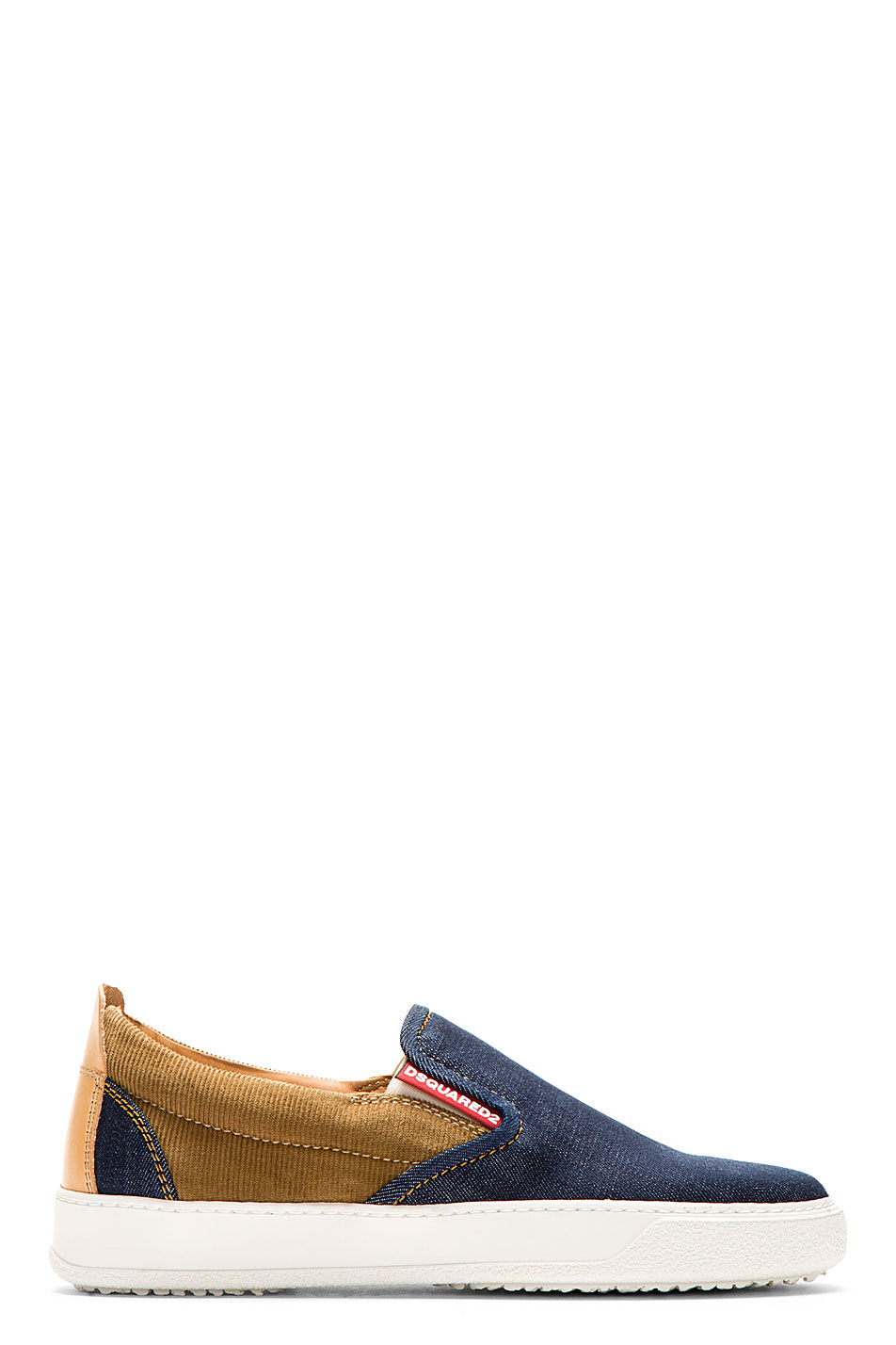 Dsquared2 blue denim and corduroy slip_on sneakers