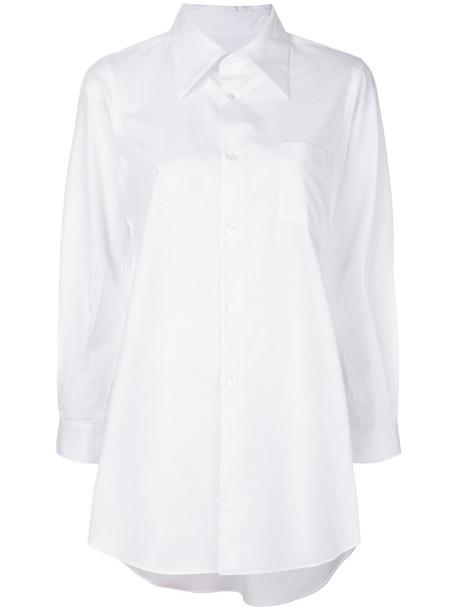 shirt loose women fit white cotton top