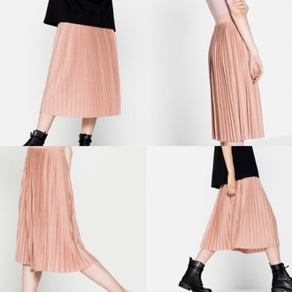 skirt pull&bear pull and bear pullandbear pink midi skirt