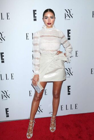 skirt blouse sandals olivia culpo lace top lace up lace ny fashion week 2016 shoes