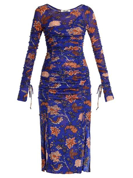 dress mesh dress mesh print blue