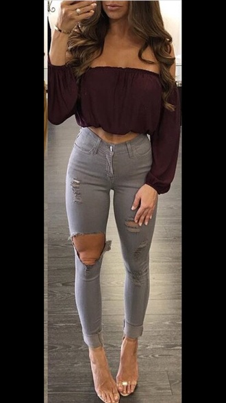 jeans grey fall outfits fall colors grey sweater warm ripped jeans holes high waisted jeans high heels distressed denim shorts cute soft stretchy material