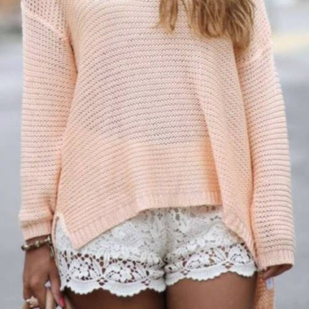 shorts white pastel knitted pink blouse sweater