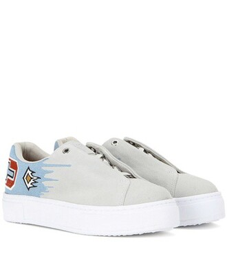 suede sneakers embroidered sneakers suede grey shoes