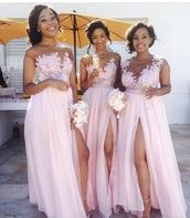 dress,sheer,mesh,gown,bridesmaid,blush pink