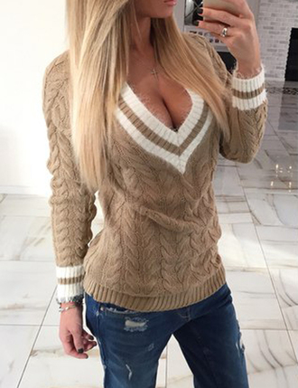 sweater zefinka knitted sweater knitwear fall outfits autumn/winter fall colors fall sweater denim warm sweater v neck dress v neck winter outfits