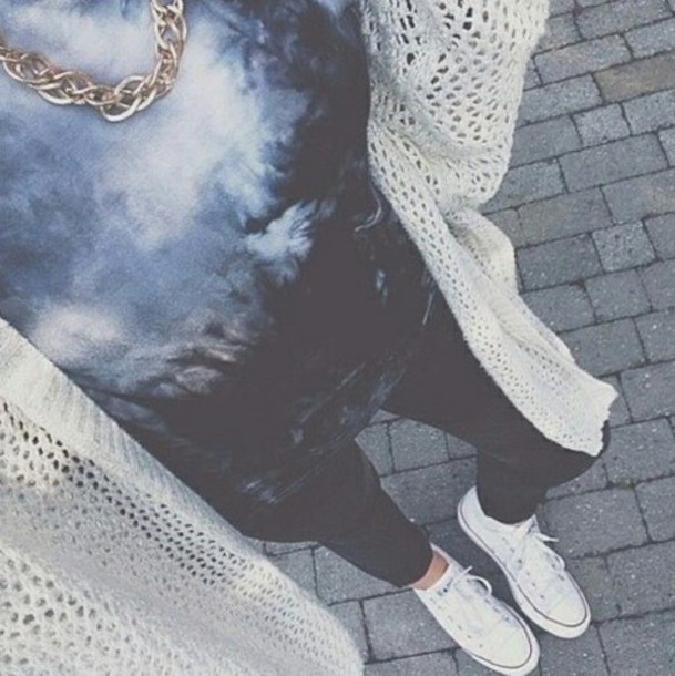 t-shirt grunge alternative style tumblr outfit shirt scarf pants leggings necklace