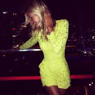 romper play lace dress yellow dress