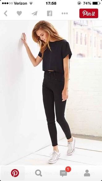 pants black black jeans ankle crop tops