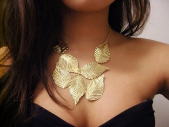 jewels gold leaves necklace