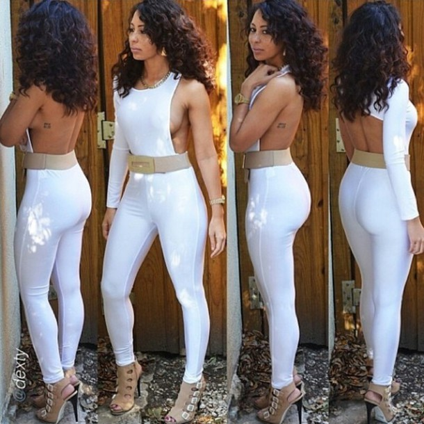01bb128453b dress white jumpsuit white long sleeves backless jumpsuit pinkdaggershoes  hot bodycon dress