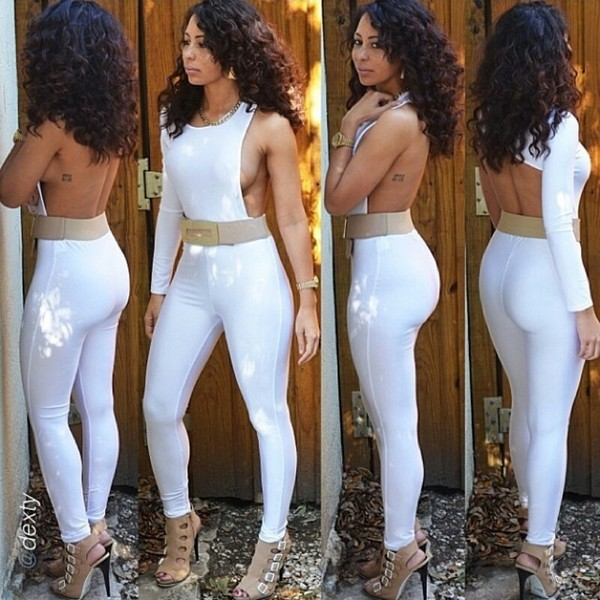 dress white jumpsuit white long sleeves backless jumpsuit pinkdaggershoes hot bodycon dress
