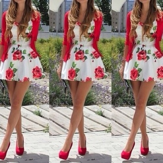 dress floral dress white dress pink cardigan cardigan high heels pink high heels shoes white red floral