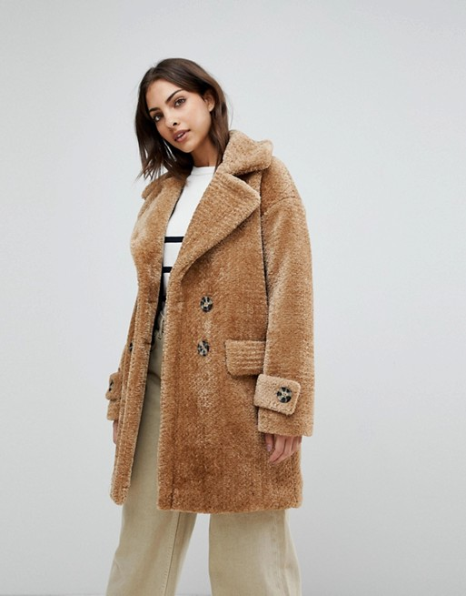 Warehouse Premium Double Breasted Oversized Teddy Fur Coat at asos.com