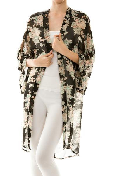 Long Vintage Floral Chiffon Kimono · 1 Vintage Soul · Online Store Powered by Storenvy