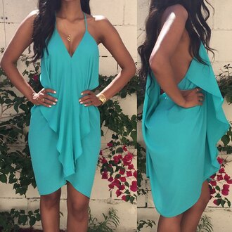 dress turquoise ruffle fashion style summer spring trendy rose wholesale-feb