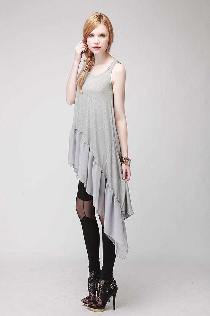 Merci assymetric hem tail tunic dress (2colors)