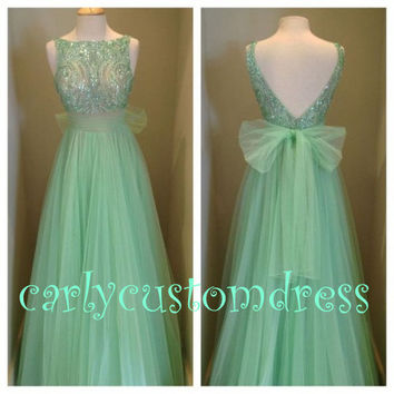 Champagne Mint Prom Dress/Beaded Bridesmaid Dress/Peach Red Grey ...
