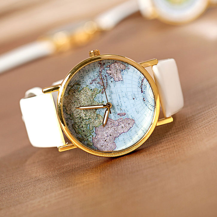 Fashion White World Map Watch on Luulla