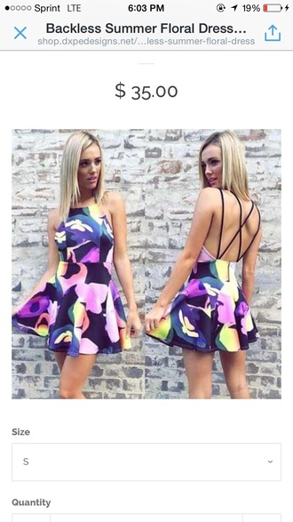 dress cute floral backless dress spagettistraps criss cross back cute dress floral dress style summer dress short dress fashion trendy outfit tumblr dress tumblr outfit