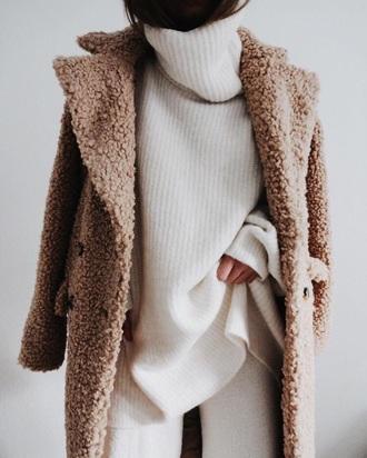 coat caramel woolen fluffy wool coat fur caramel camel furry coat