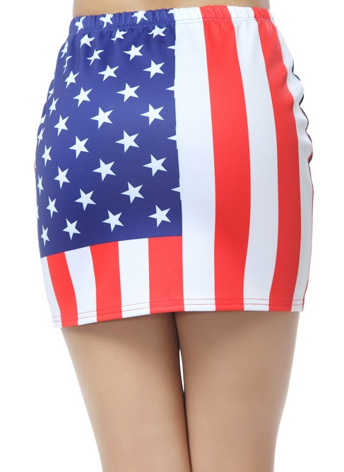 Blue white red american flag print skirt