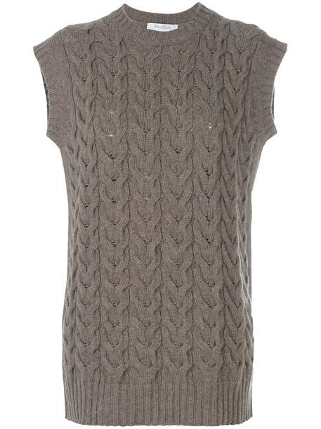 Max Mara vest sleeveless women wool brown jacket