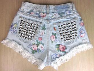 shorts flowers clothes floral studs vintage lace denim love kawaii flowered shorts high waisted levi's shorts