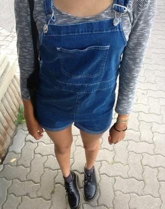 t-shirt outfit stripes blue dark blue black white denim jeans romper jean play suit jean playsuit shoes cute pants