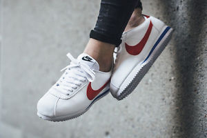 907dc9c42d4 nike Classic Cortez Leather WHITE VARSITY RED ROYAL WOMEN US SIZES  807471-103