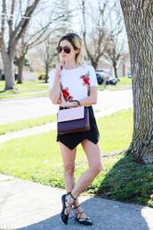 kim tuttle,the knotted chain - a style blog by kim tuttle,blogger,shirt,skirt,shoes,bag,sunglasses,floral top,mini skirt,ballet flats,spring outfits