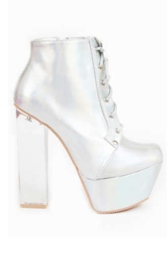 shoes boots heels lace up boots lace-up shoes silver silver shoes platform shoes excited style fashion shiny disco tumblr shoes platform high heels high heels