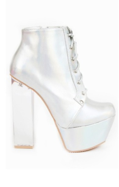 Shoes: boots, heels, lace up boots, lace-up shoes, silver, silver ...