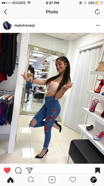 428eec16a1b61 jeans pants roses rose jeans ripped jeans high waisted jeans malu trevejo  skinny jeans