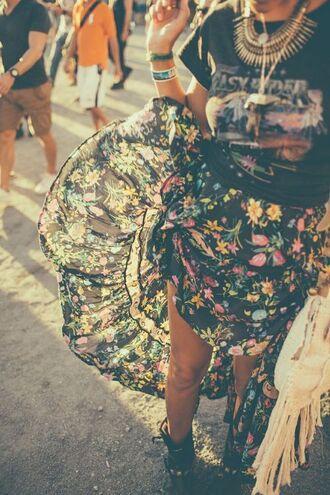 floral boho gypsy loose floor length skirt flowy shirt