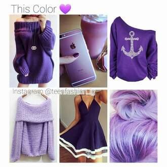 shirt purple anchor off the shoulder