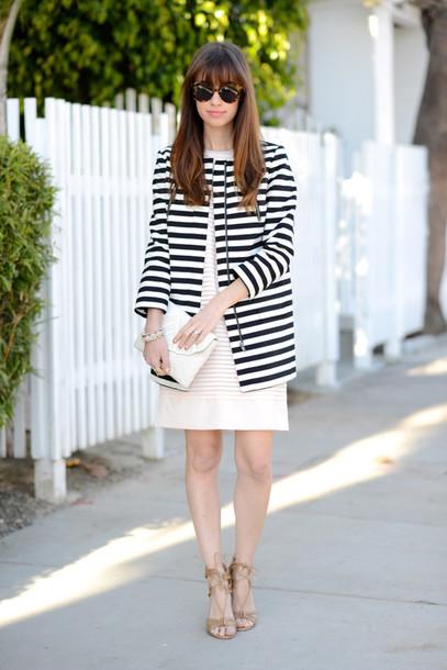 m loves m blogger dress shift dress stripes coat shoes bag sunglasses jewels