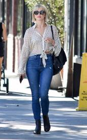 jeans,streetstyle,blouse,top,julianne hough,fall outfits