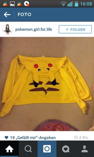 jacket hoodie pikachu cosplay pokemon yellow cute girly