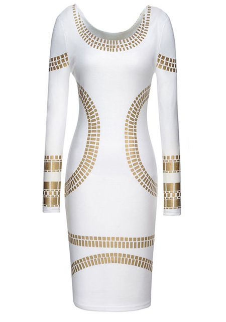 Women's golden/white slim print dresses bodycon dresses online