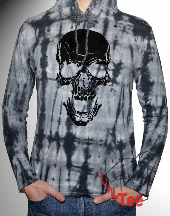 62baf30377688 Skull Hoodie Goth Grunge Death Sweatshirt Tumblr Tie Dye Hoodie Light  Weight Men Sizes M L XL XXL
