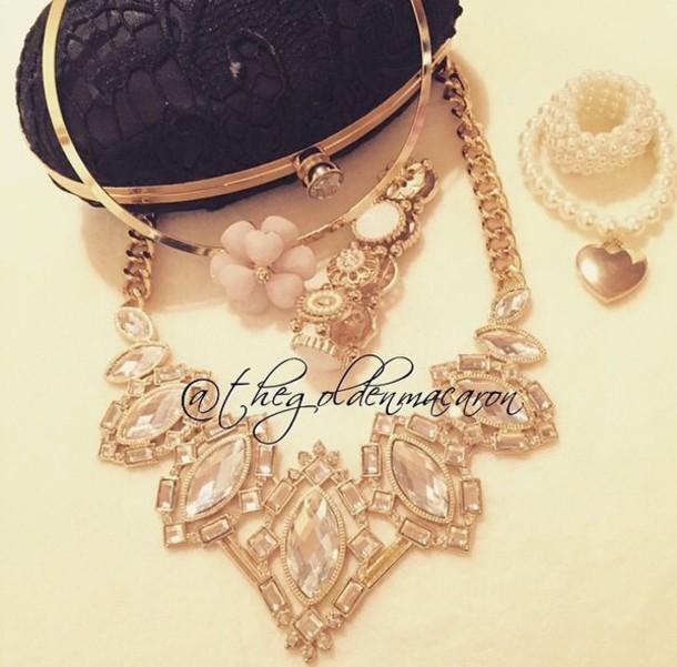 jewels statement necklace gold necklace necklace goldchainnecklace
