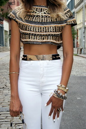 belt,gold,jewels,waist belt,white pants,elegant,top,texture,egyptian,asos,gold belt,girl,white,pants,shirt,nails,black,crop tops,beaded,blouse,embellished,pattern,stripes,metallic,jeans,high waisted jeans,gold bracelet,necklace,t-shirt,metal gold belt,ornate