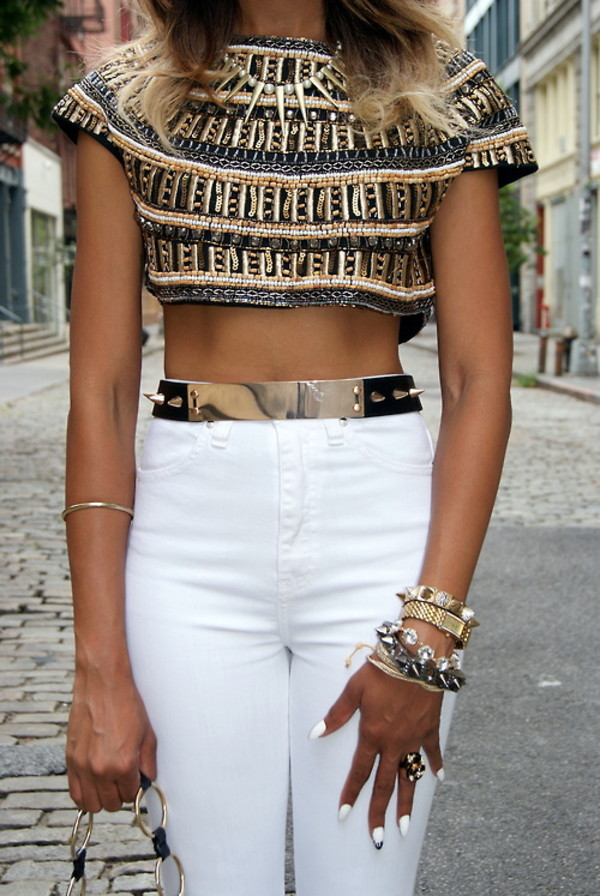 belt gold jewels waist belt white pants elegant top texture egyptian asos gold belt girl white pants shirt nails black crop tops beaded blouse embellished beaded pattern stripes metallic jeans high waisted jeans gold bracelet necklace t-shirt metal gold belt crop tops ornate